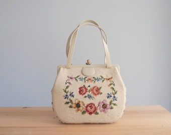 1950s embroidered bag / floral needlepoint purse ivory taupe leather frame handbag