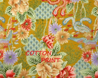 1/4 YARD, Yellow Green Pink Asian Print, Quilting Cotton Fabric, Japanese Flowers Leaves, 20 x 17, B44