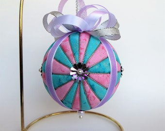 Christmas Ornament - Pink and Blue Glitter Starburst