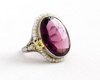 Sale - Antique Art Deco 10k White Gold Simulated Amethyst & Seed Pearl Ring - Size 5 Vintage 1920s Filigree Purple Glass Stone Fine Jewelry