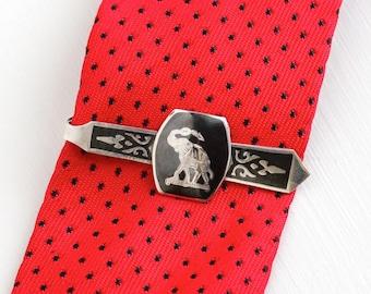 Sale - Vintage Sterling Silver Siam Elephant Tie Bar Clip - Men's Dark Niello Figural Thailand Jewelry Tie Clasp Tribal Fashion Accessory