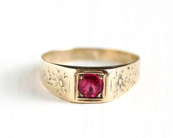Sale - Antique Art Deco 10k Rosy Yellow Gold Created Ruby Ring - 1920s 1930s Size 4 1/2 Synthetic Pink Stone Flower Floral Fine Jewelry