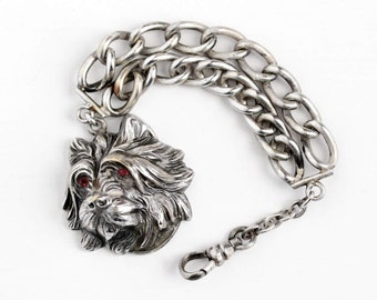 Sale - Antique Edwardian Silver Plated Terrier Dog Fob Pocket Watch Chain - Vintage Figural Repousse Animal F.N Co Fishel Nessler Jewelry