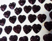 50x 13mm Black Heart Cabochons Resin Sparkly