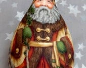 """Reserved for Mary of Atwood, Lithuanian Yuletide, Santa Claus gourd, hand painted, 10 3/4"""" tall x 6"""" diameter"""