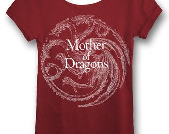 Daenerys Shirt Mother of Dragons Game of Thrones Daenerys Targaryen Khaleesi. Womens Off The Shoulder Oversized Slouchy Tee, Scarlet or Navy