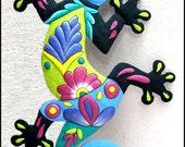 """Gecko Hand Painted Metal Wall Hanging  - Gecko Metal Art - Garden Decor - Metal Wall Art - Tropical Decor - Garden Art - 34""""  - M401-BL-34"""
