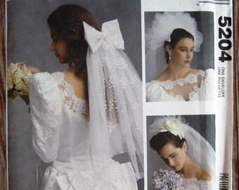 Bridal Veils, Headpieces and Bows Vintage 1990s McCalls Pattern 5204 UNCUT