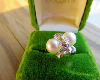 1950s Cultured Double Pearl Ring Marked Sterling Silver a Branch Stem Setting