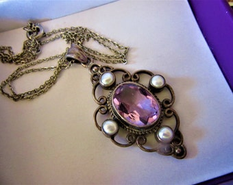 Larger Early Vintage 925 Sterling Gorgeous Amythest Highly Faceted Glass Pendant with Glass Pearls Silver Plate Chain