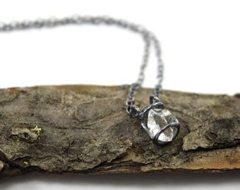 Genuine Herkimer Diamond Necklace - Gemstone Cage - Oxidized Sterling Silver - Herkimer Diamond Jewelry - Small Crystal P