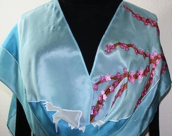 Blue Hand Painted Silk Shawl.  Handmade Silk Scarf JAPANESE LANDSCAPE.Size 11x60. Japanese Sakura Blossoms. Birthday Gift. Bridesmaid Gift