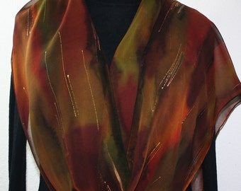 Silk Scarf Handpainted. Brown, Burgundy Hand Painted Shawl. Handmade Silk Wrap AUTUMN FAIRY, Extra Long 11x90 Anniversary Gift. Gift-Wrapped