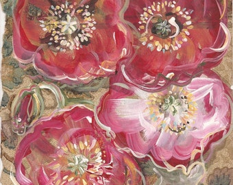 Pagoda - original mixed media painting, Red Poppy Flowers painted on original antique 1927s wallpaper sample