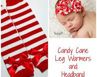 Baby Leggings, Red and White Stripe Leg Warmer and Headband, Baby Headband, Shabby Chic Headband, Christmas Leg warmers, Candy Cane Leggings
