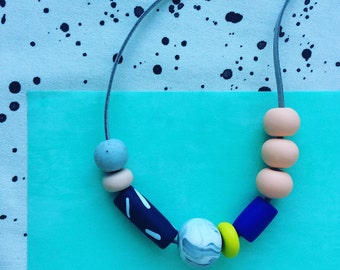 Contemporary Multibead Handmade Statement Necklace