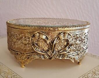 Stylebuilt Oval Filigree Jewelry Box With Beveled Glass Lid - Jewelry Casket - Oak Hill Vintage