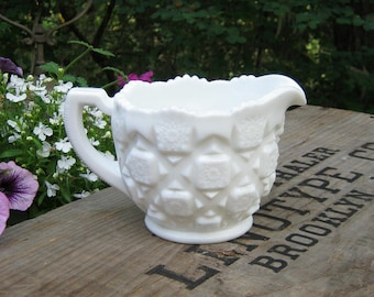 Westmoreland Milk Glass Creamer in Old Quilt Pattern - Small Pitcher - Oak Hill Vintage