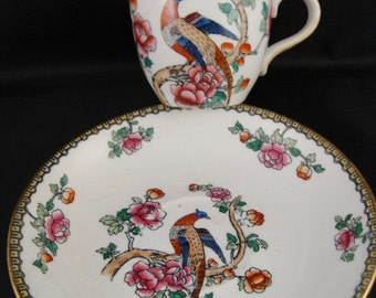 Pheasant Pattern Whieldon Ware by F. Winkle & Co. England Demitasse Cup and Saucer