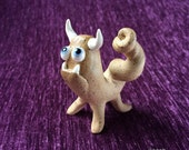 Monster - hand sculpted stoneware ceramic buddy desk pet with horns