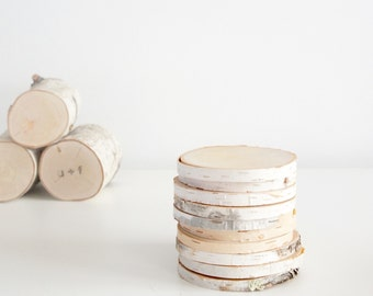 natural white birch wood slices for diy projects - set of 10, rustic wood slices, rustic wedding, wood craft, wood ornament