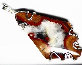 Morgan Hill Poppy Jasper Pendant in Sterling Silver, Poppy Jasper Necklace, Silver Jasper Jewelry, Red Jasper Gift, Orange Jasper For Her