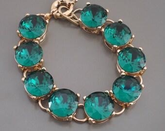Gold Bracelet - Emerald Green Bracelet - Rhinestone Bracelet - Aqua Blue Bracelet - Pink Bracelet - Statement Bracelet - handmade jewelry