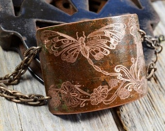 Butterfly Cuff Bracelet - Hand Engraved on 100+ Year Old Copper, Amazingly Detailed, One Of A Kind - ReaganJuel: Reclaimed1