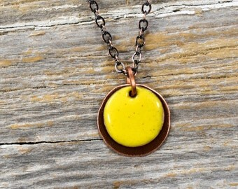 Recaimed Copper and Layered Enameled Disc Necklace - Reclamied Copper and Fire Torch Enamel Butter Yellow Layered Disc Necklace