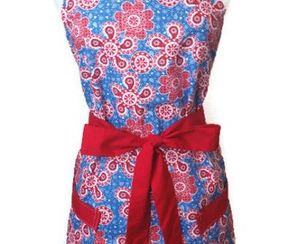 Cute Apron with pockets, Blue Country Flowers, Full Hostess Apron, aprons for women, Christmas gift, flirty grilling apron, kitchen apron,