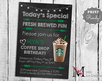 Starbucks inspired party birthday invitation, printable, customized, coffee shop party birthday