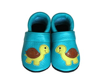 Leather Baby Booties, Baby Shoes, Turtle Infant Newborn Nursery Children Turquoise