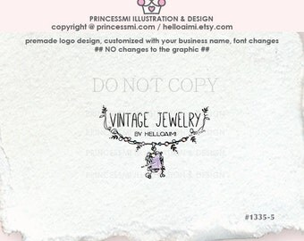 1335-5  vintage jewelry logo, necklace logo, business card, banner, Premade-  Hand drawn Charm logo Pendant logo necklace jewelry logo
