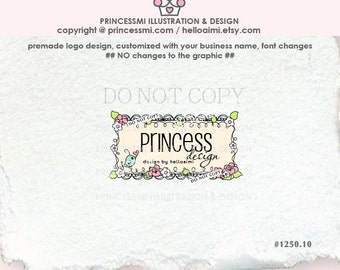 1250-10 Business logo, Custom logo, Premade Logo Design, doodle frame logo, label logo / photography logo boutique logo by princessmi