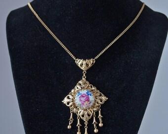Czech Edwardian Revival Parure 50's Rose Porcelain and Gold Filigree Bohemian Necklace