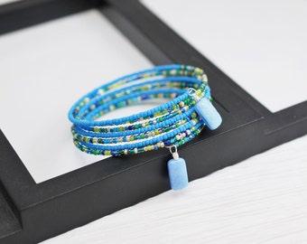 Wrap Bracelet, Blue Bracelet, Memory Wire Bracelet, Blue Wrap Bracelet, Seed Bead Bracelet, Blue Beaded Bracelet, Beaded Wrap Bracelet, Boho