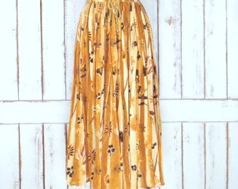 Brown tropical floral  boho crinkle vintage maxi skirt/long gauzy boho gypsy festival skirt/free size