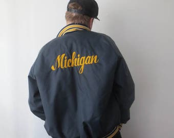 Vintage '70s/'80s Rad Embroidered Michigan Nylon Quilted Baseball Jacket, Don Alleson Athletic, XL