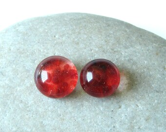 Red Cherry Cabochon Set - 9mm Lampwork Glass- Jewelry Making Supply