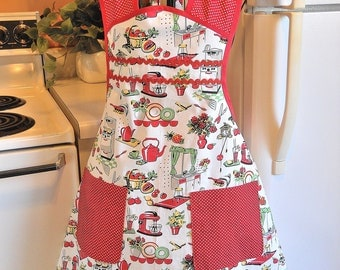Women's Old Fashioned Style Red Kitchen Apron
