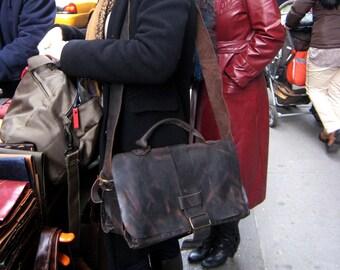 Expandable laptop bag, Leather computer briefcase, Wide messenger bag, Travel satchel, Leather laptop bag, Handmade computer bag, Satchel