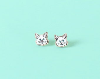 I Like Cats Enamel Wood Earrings - Studs for the Crazy Cat Lady