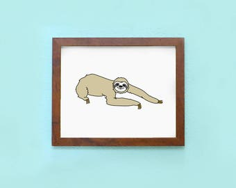 Three Toed Sloth: Fundraising Print - 8 x 10 Art Print