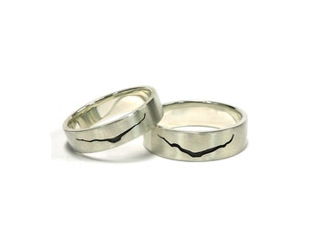 smallthinner band dr who inspired crack in space and time ring 14k white - Dr Who Wedding Ring