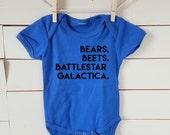 Bears Beets Battlestar Galactica Onesie. The Office Onesie. Free Shipping! Tshirt. Creeper. Baby Shower Gift. Dwight Schrute. Jim Halpert.