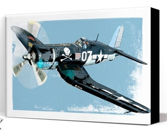 Airplane Decor - F4U Corsair - Aviation Art, Canvas Print, WWII vintage Airplane Art, Air Force, Military Gift, Aviation Gift, Pilot gift