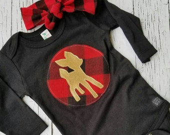 Christmas Deer silhouette onesie, buffalo plaid, deer shirt, gold, fawn, girl, Christmas bodysuit, holiday outfit, headband