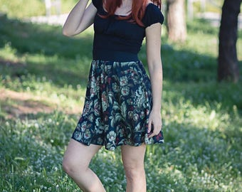 Skater Skirt short flare printed barroque flowers mini skirt