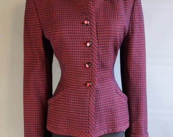 1940s hourglass navy and red check jacket 1940s wool jacket fitted jacket hourglass jacket wool gingham jacket 40s jacket