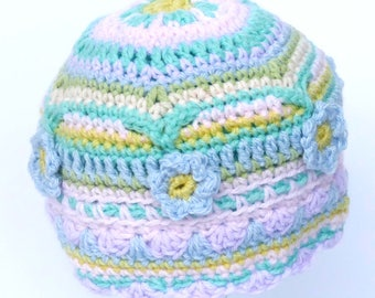 Pretty pastel flower-trimmed baby mandala hat,  to fit head circumference 17-18 inches (average one year old size) - ready to ship.